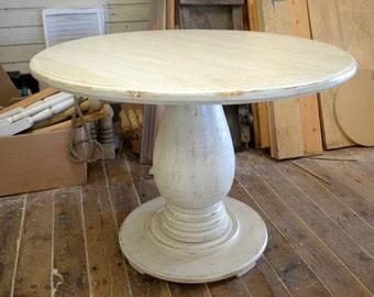 42 inch Round Pedestal Table Huge Tear Drop Pedestal Solid Wood Handcrafted Distressed Ivory