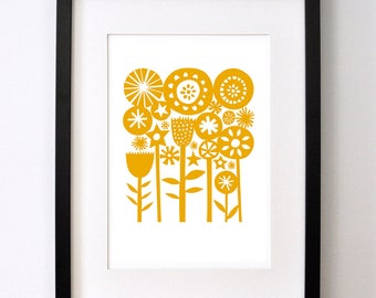 Yellow Summer Garden - Signed Open Edition Giclee Print From an Original Paper Cut