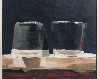 Cups 4 - Original acrylic painting on canvas