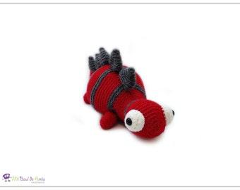 Crochet Stegosuarus Amigurumi - Red Grey Dinosaur Stuffed Toy - Dino Plushie - READY TO SHIP