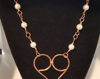 Copper heart & handmade chain with white glass pearls