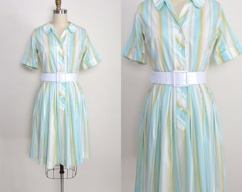 Vintage 1950s Shirtwaist Dress 50s Cotton Day Dress Full Pleated Skirt