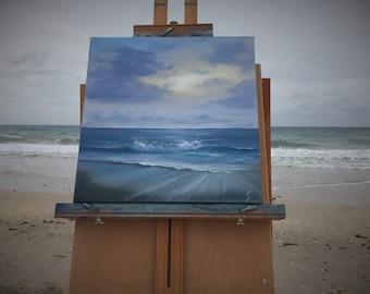 Moonrise at Vero Beach - Original Plein Air Seascape Ocean Painting on Canvas by Eva Volf