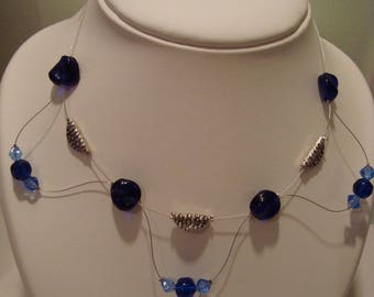 Blue silver costume jewelery set