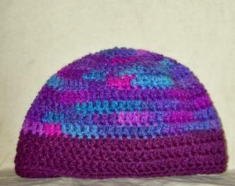 Women's Skull Cap, Blended Shades Of Purple And Blue, Winter Wear, Crochet Hat
