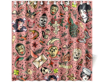 Old School Tattoo Shower Curtain - vintage tattoo flash novelty shower curtain - gray, white or rose background