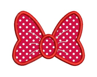 Applique Minnie Mouse Bow Machine Embroidery Designs 4 Sizes 4X4 and 5X7 Included - Instant Download Sale