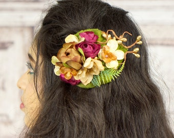 Flower Hair Clip, Boho Flower Fascinator, Boho, Woodland, Fall Colors, Rustic, Autumn, Brown, Burgundy, Ivory, Gold, Rockabilly, Pinup Girl
