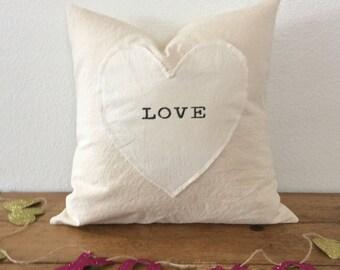 Valentine pillow cover| love pillow| farmhouse pillow cover