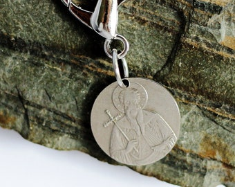 Purse Charm Coin Key Ring Bulgaria 1 Lev Coin Backpack Charm Keychain Zipper Pull Repurposed Coin St. John of Rila by Hendywood