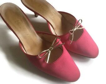 Vintage Manfield Red Satin Mules
