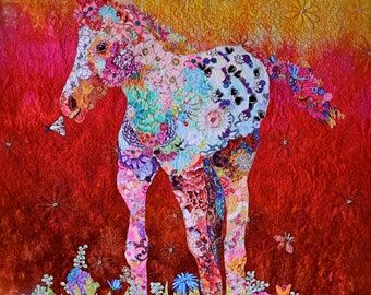MarveLes Paper Pattern for a collage style Art Quilt SUN BLOSSOM A Painted PonyHorse Foal Colt Pinto Sunrise Sunset Wall Hanging
