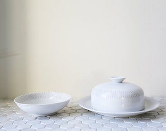 KPM Ceramic Butter Dish and Small Bowl