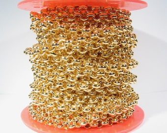 5ft 7.0mm Rolo Chain - Gold Plated - 7.0mm Links - CH50