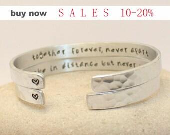 Together Forever Never Apart Bracelets - Set of 2 bracelets - Bangles for Mother and Daughter, Boyfriend Girlfriend, Couples.