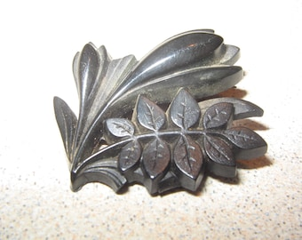 Victorian Mourning Jewelry Pin Brooch Vintage Costume Jewelry #5739
