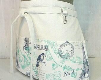 Paris Apron - French Eiffel Tower Half Apron - Navy and Aqua Teacher Apron - Craft Show Vendor Apron - Tie Front Pocket Apron