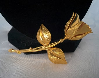 Rose Brooch, Gold Tone Rose Brooch, Rose Jewelry