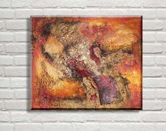 Original Abstract Painting, Autumn Leaves, Texture painting Red Orange, Indian Summer Acrylic Painting, Abstract Art,