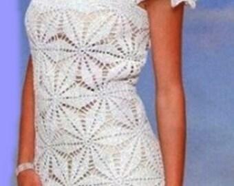Ladies dress crochet in white / custom