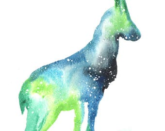 Mountain Goat ORIGINAL Watercolor 9X12, Galaxy Spirit Animal