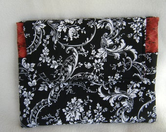 Ipad 1, 2 or 3 Sleeve in Black White and Red