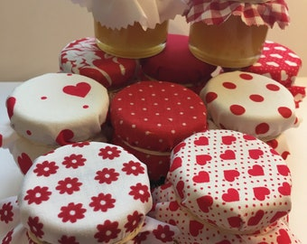 Red Wedding Favour Fabric Mini Jam Jar Lid Top Covers X 50 Jam Pot Covers Fabric Jar Covers Mini Jar Covers with twine