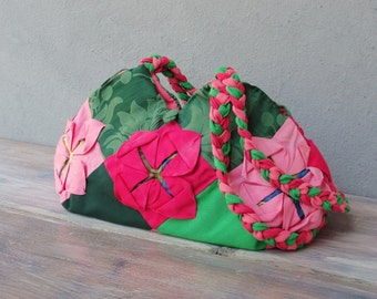 Lotus Flower Bag, Manipulated Vintage Fabric, Green and Pink