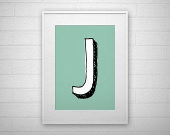 Typography Art Print - J - Letter poster - Printable - Wall Art