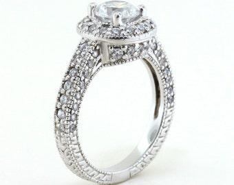 Moissanite Halo Engagement Ring Diamond Setting Vintage Style Ring -  Rita