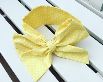 Girl's Headwrap Big Bow Cotton Headband in lemon yellow and white cotton spotty fabric