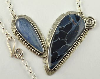 Blue Stone Necklace - Metalsmith Neckalce - Oxidized Necklace - Artisan Jewelry