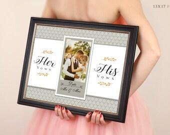 Valentine's Day Wedding Vow Art, Framed Wedding Vows, Wedding Vow Keepsake, Anniversary Gift, Gift For Groom, Gift For Bride