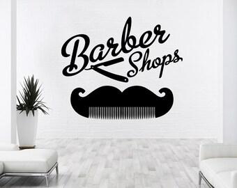Barber Shop Wall Decal Hairdressing Salon Vinyl Sticker Decals Beauty Haircut Scissors Comb Mustache Stickers Art Decor NS1035