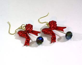 Red Bow and Crystal Bead Charm Earrings are HANDMADE BY ME from repurposed christmas ornaments - Very cute - clip on option available