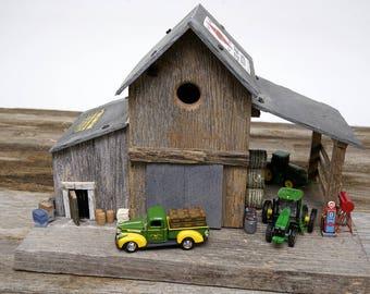 Rustic Barn Birdhouse Feeder custom made Diorama for Outdoor Patio Display or Miniature Fairy Garden