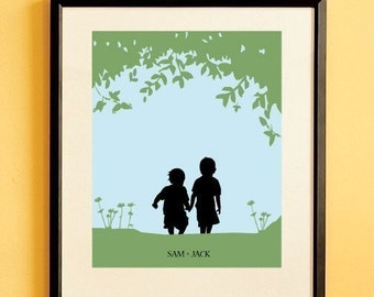 Children's Silhouette Art Print, Walk with Me, Custom Kid's Decor, Made From Your Photo