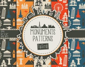 """Monuments digital paper : """" Monuments Patterns """" city digital paper incl. Paris, London, Rome, Rio de Janeiro / city monuments / printable"""