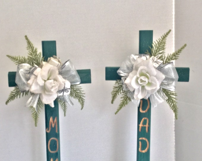 Mom and Dad Christmas Cemetery flowers, holiday grave decoration, memorial cross, Christmas Floral Memorial, grave marker, in memory of