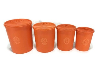 Vintage Tupperware Canisters with Lids * Set of 4 * Nesting Kitchen Storage Containers * Orange