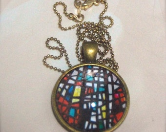 Red White Stained Glass Pendant Necklace, mosaic jewelry, modern, abstract art, vintage accessory, antique silver gold, Icelandic, colourful