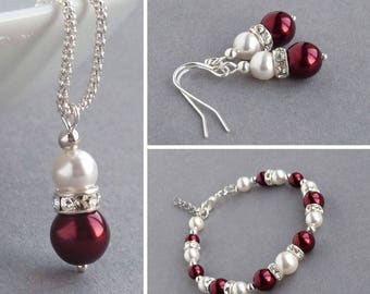 Burgundy Pearl Jewellery Set - Marsala Bridal Party Gifts - Dark Red and White Bridesmaid Jewellery - Claret Necklace, Bracelet and Earrings