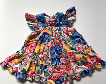 1980's Bright Floral Flutter Sleeve Dress (2t/3t)