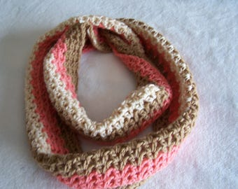 Camel, white, peach infinity scarf with matching hat