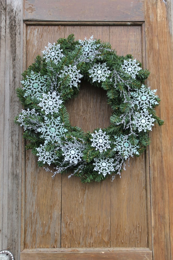 Items Similar To Snowflake Wreath Winter Wreath Icy