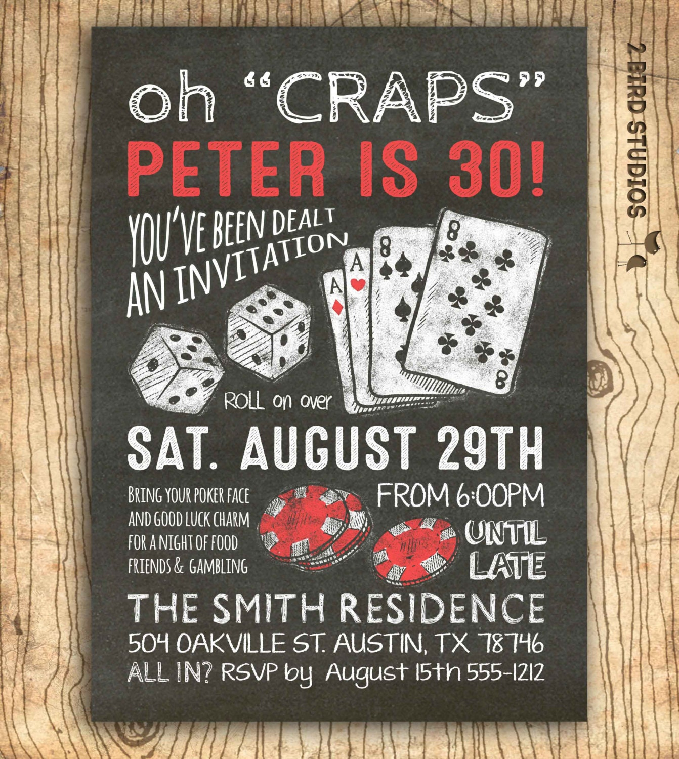 Casino invitation for poker party birthday 30th birthday or zoom filmwisefo Images
