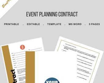Event Planning Contract for Event and Wedding Planners. Printable Template., MS Word
