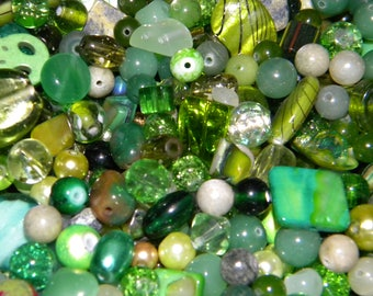 NEW 6/oz GREEN'S Large Mixed Loose lot of Beads Assorted 6mm-20mm Glass, shell, lampwork, gemstone