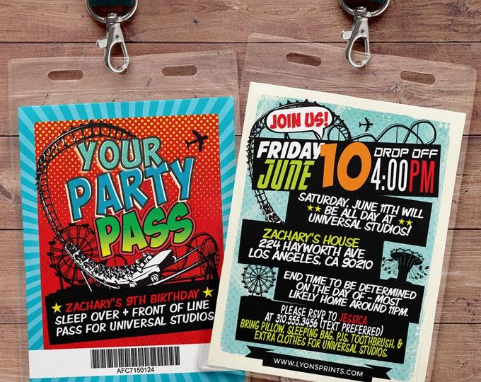 Amusement Park party, Super Hero party invitation / boy birthday invitations /  batman, spiderman, superman,, super hero birthday