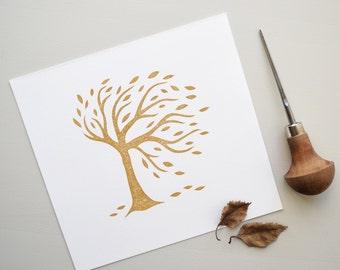 Lino Print. Hand Printed. Original Lino Cut Tree.
